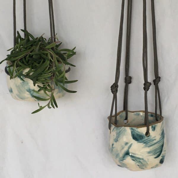 hanging wabi sabi succulent pot