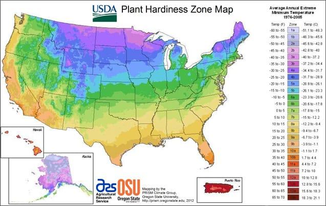 USDA Plant Growth Zones