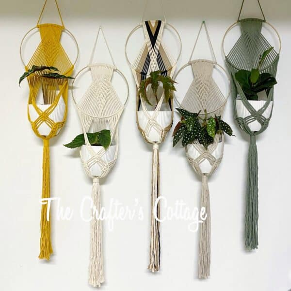 The Crafters Cottage Macrame plant hanger in multiple colors