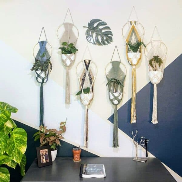 The Crafters Cottage Macrame plant hangers workspace