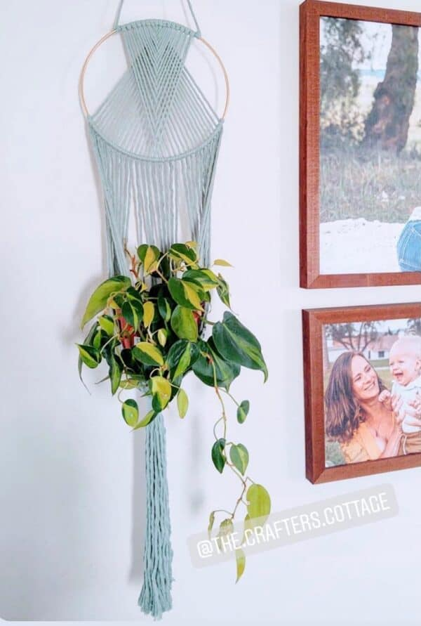 The Crafters Cottage Macrame plant hanger in sage